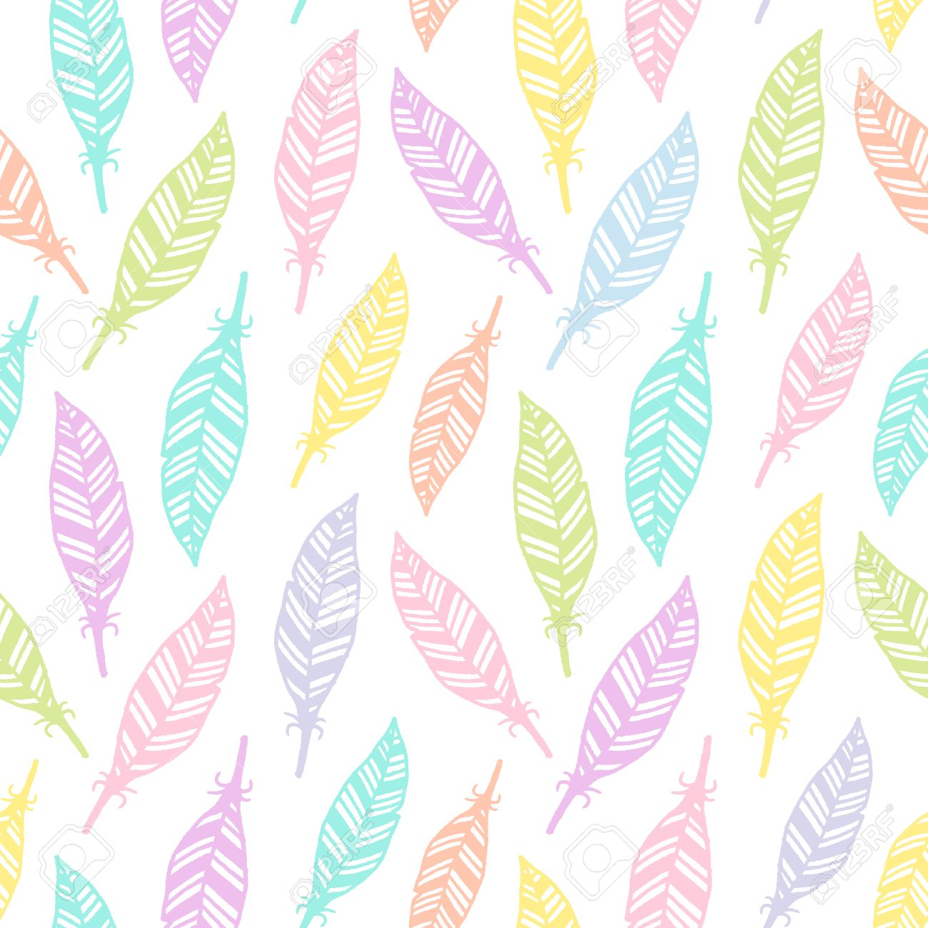 Hand Drawn Feather Seamless Pattern Soft Colored For Wrapping Paper Textile