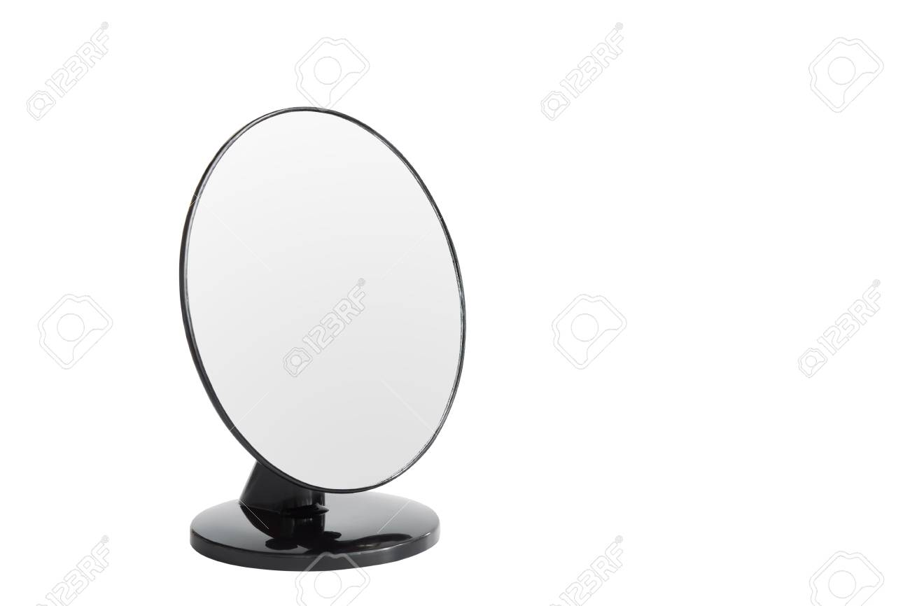 Make Up Spiegel : Desktop make up spiegel op wit wordt geïsoleerd royalty vrije foto