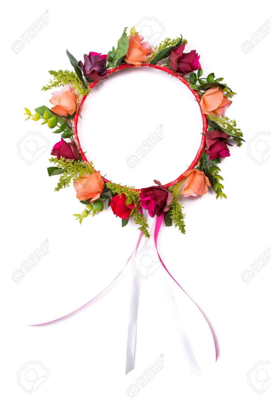 Colorful Fake Flower Crown Isolated On White Background Stock Photo