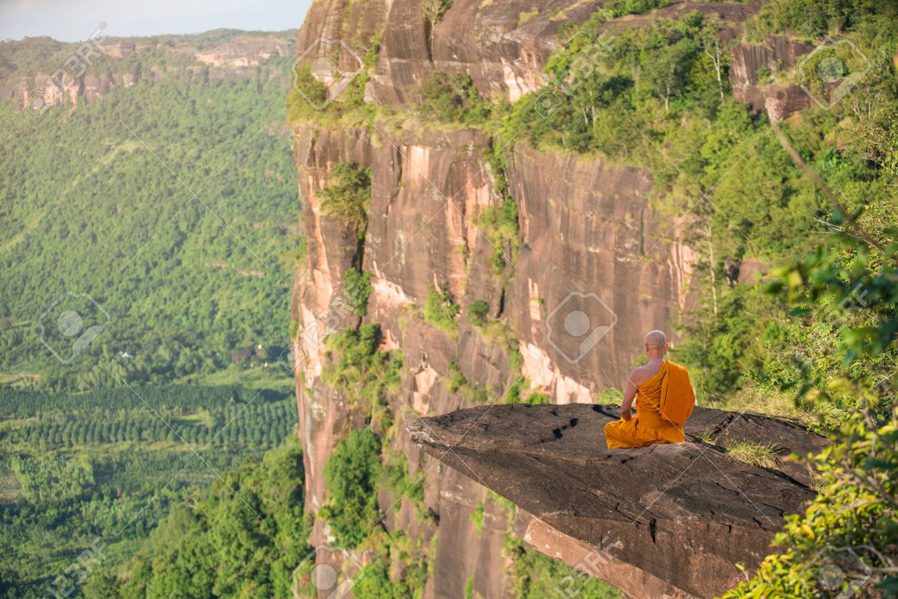 Buddhist Monk In Meditation At Beautiful Nature On High Mountain Stock Photo Picture And Royalty Free Image Image 90252263