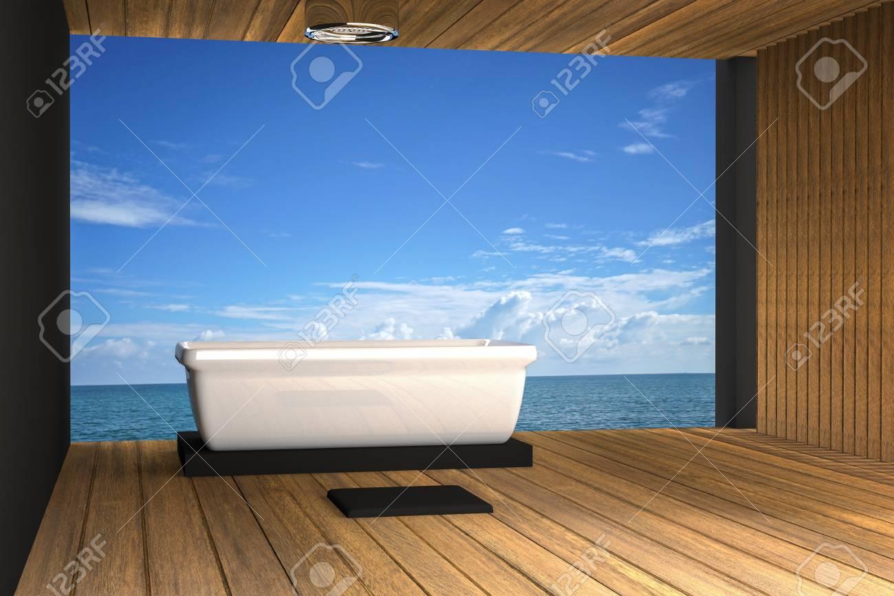 3D Rendering : Illustration Of Jacuzzi Bath Take At Wooden Room ...