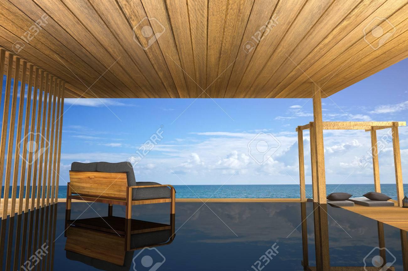 Rendu 3D: illustration de canapé en bois décoration intérieure moderne  balcon extérieur chambre de style en bois avec Sundeck sur la vue de la mer  ...