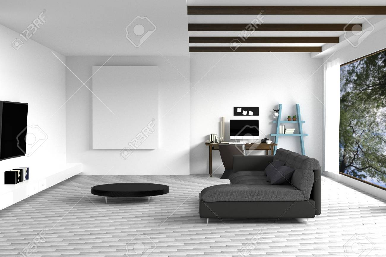 3d Rendering Illustration Of White Living Room Interior Design
