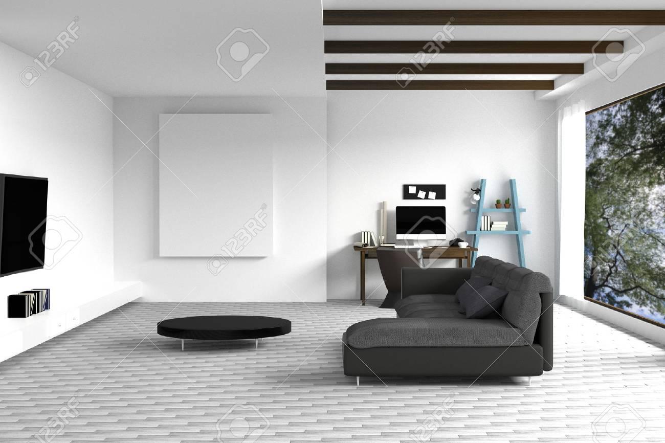 Representación 3D: Ilustración De Blanco Diseño De Interiores De La ...