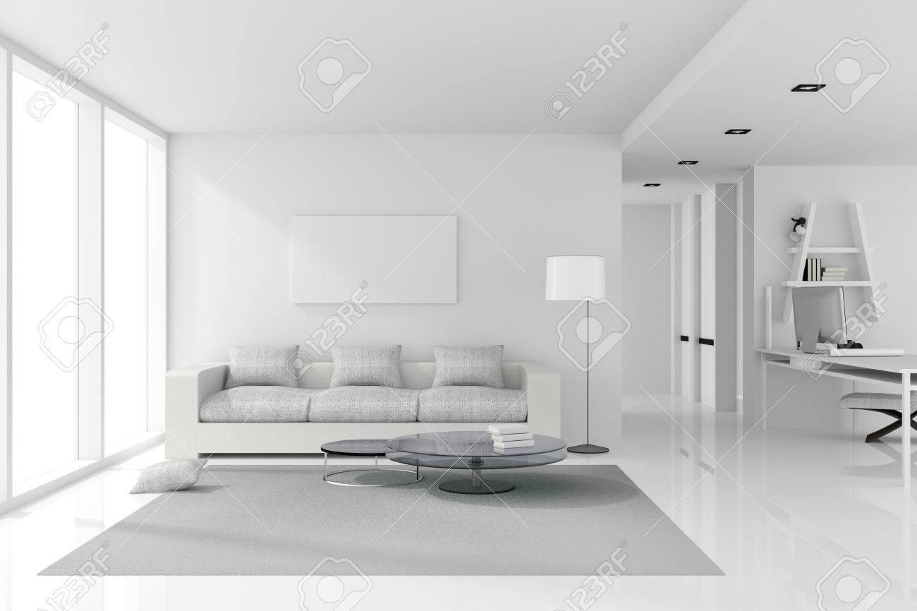 Rendu 3D: Illustration Du Design D\'intérieur Blanc Du Salon Avec ...