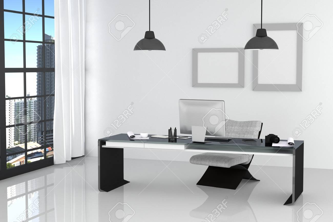 Rendu 3d: illustration du bureau blanc intérieur moderne de bureau