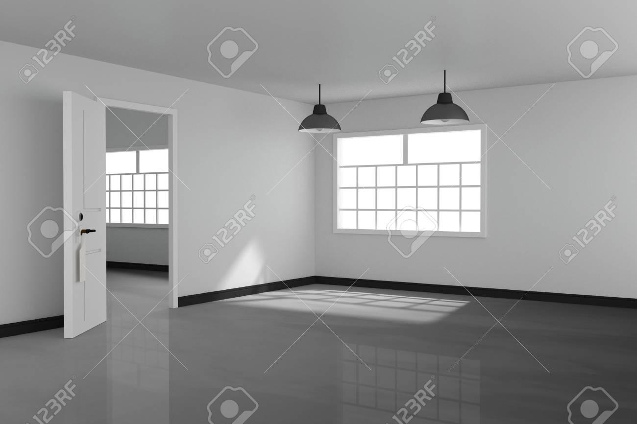 3D-Rendering: Abbildung Der Weißen Innen Leeren Wohnzimmer-Design ...