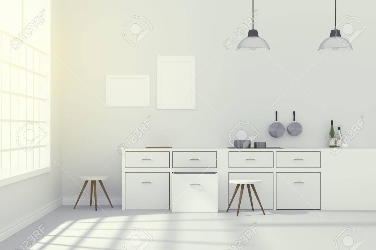 3D-Rendering: Abbildung Der Weißen Interieur Moderne Küche ...