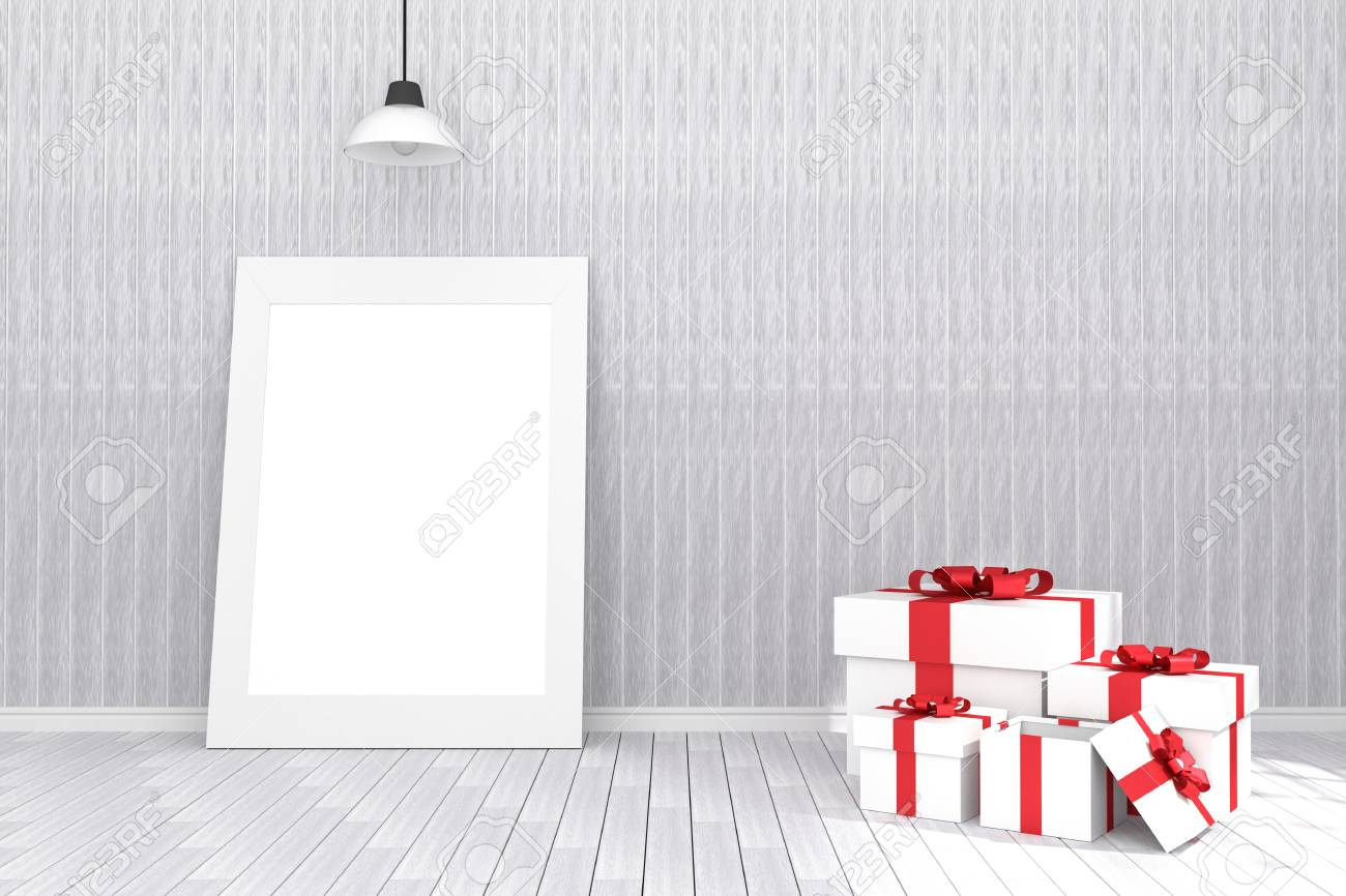 3D Rendering : Illustration Of White Picture Frame In Empty Room ...