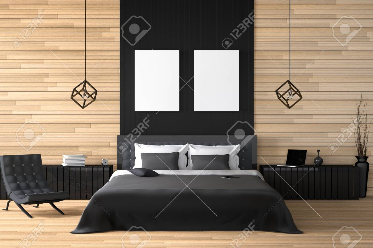 3d rendering illustration of modern wooden house interior bed room part of house