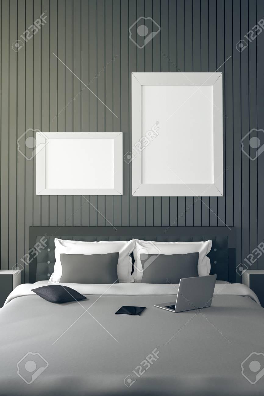3D: Ejemplo De Una Parte Casa Habitación Interior.bed Moderno Del ...
