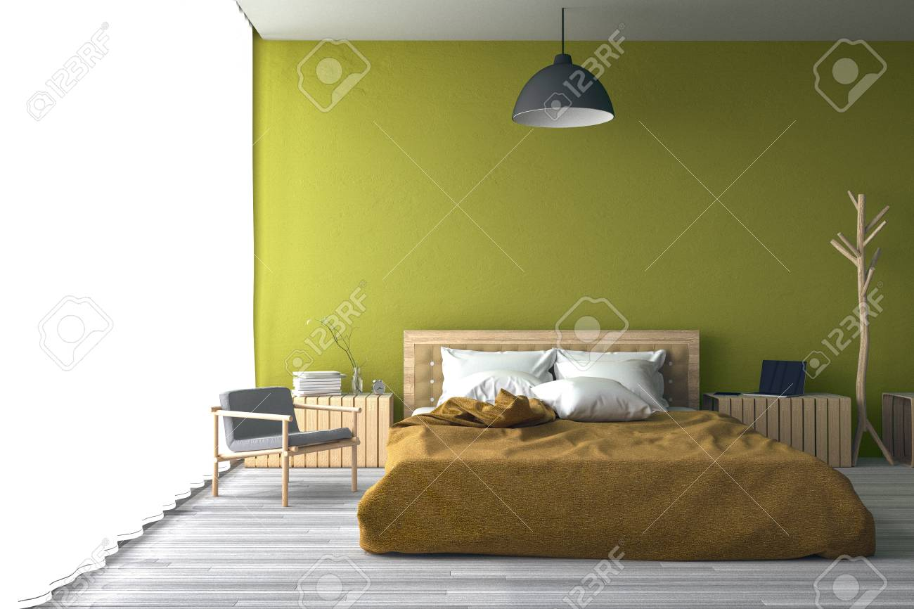 3D Rendering : Illustration Of Big Spacious Bedroom In Soft Light ...