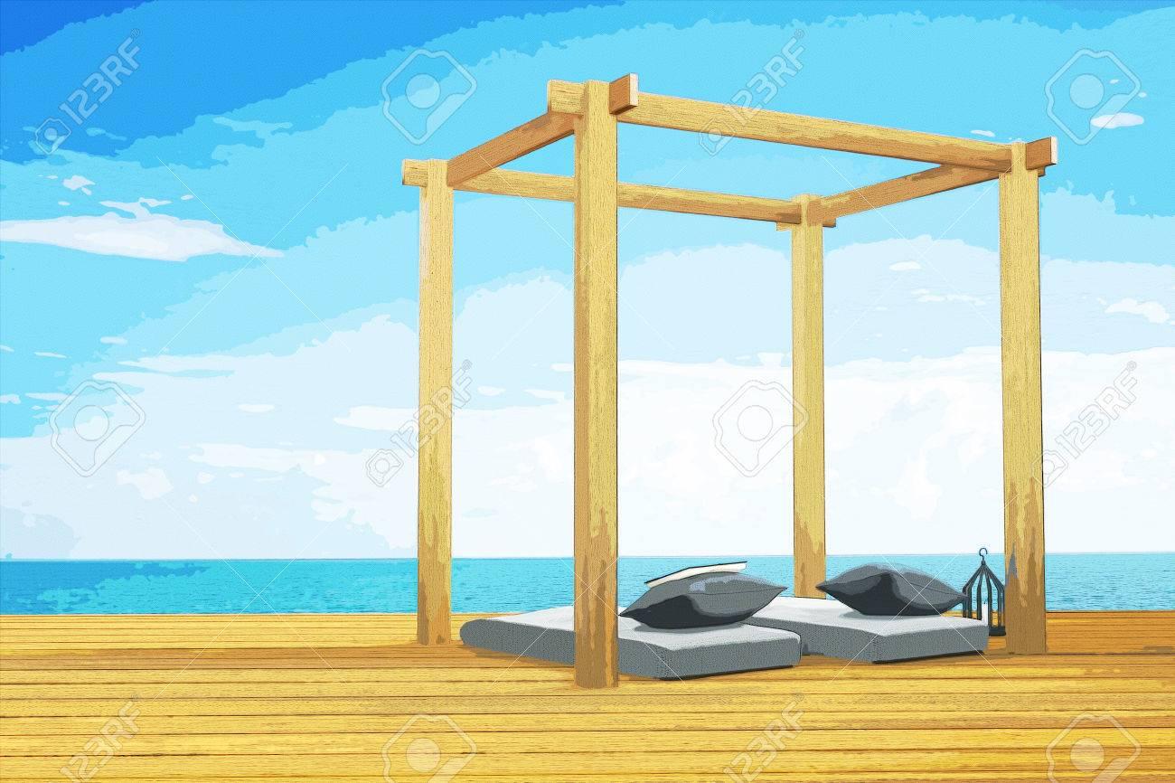 3d Rendering Darstellung Der Holzernen Strand Lounge Dekoration Am