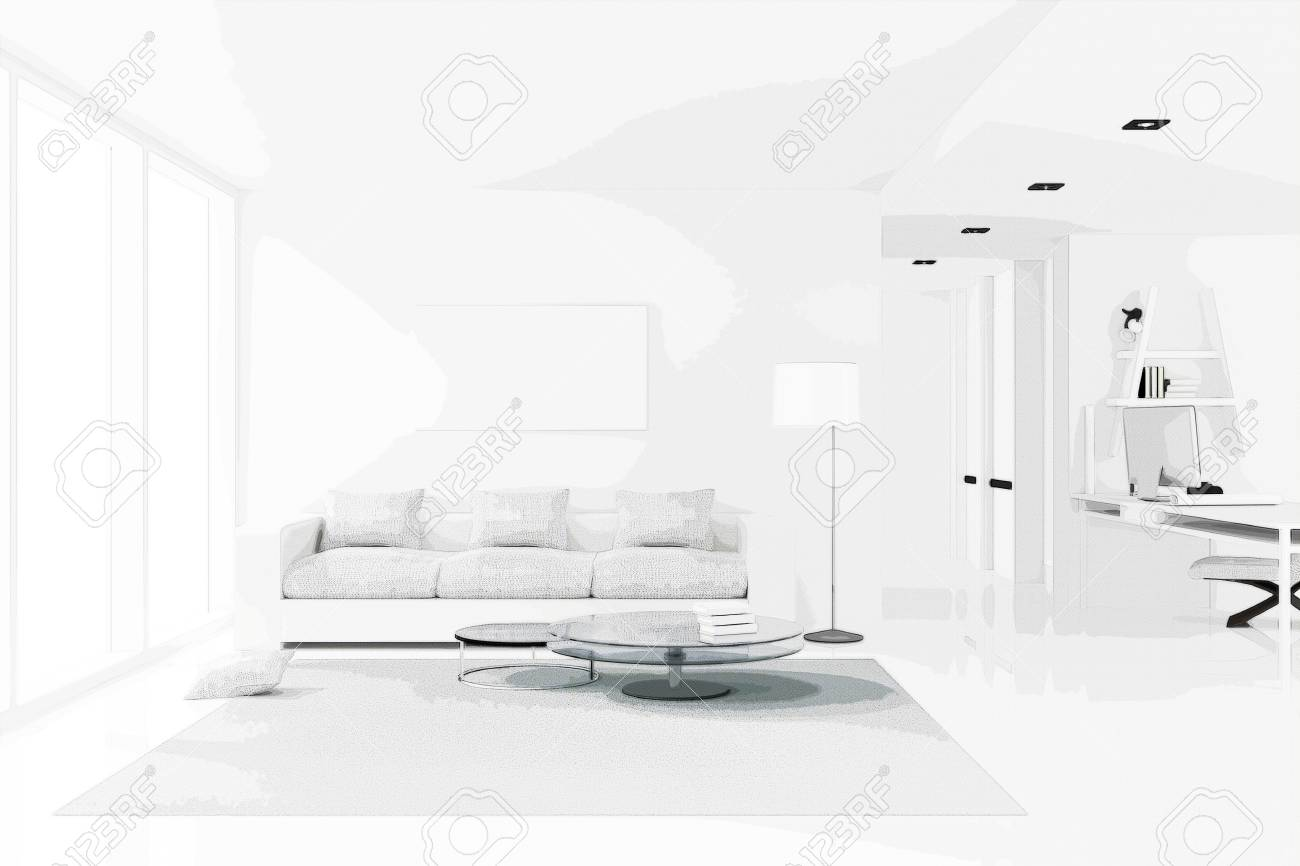 3d Rendering Illustration Of White Interior Design Of Living Stock Photo Picture And Royalty Free Image Image 73834344