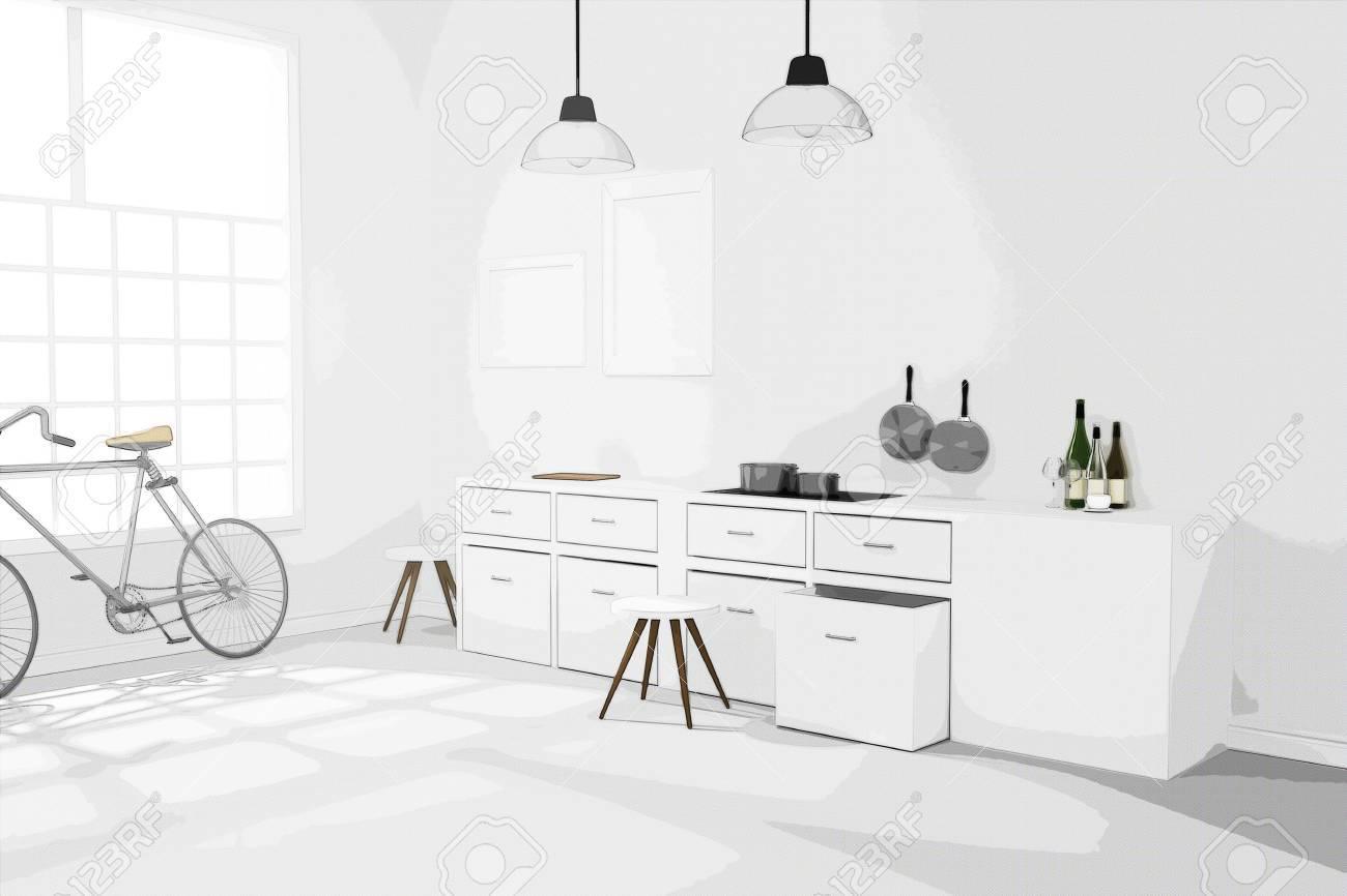 Representación 3D: Ejemplo Del Diseño De La Habitación Moderna ...
