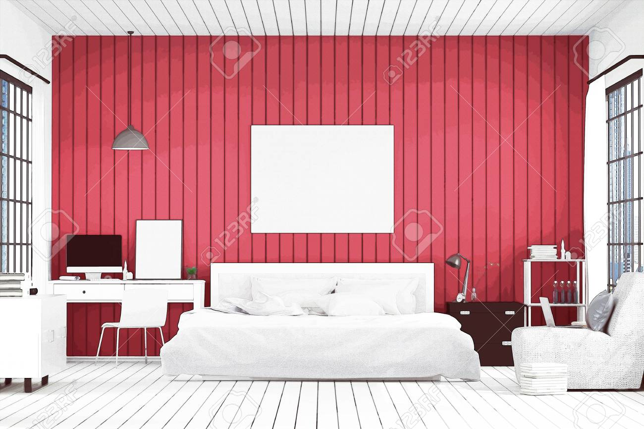 3D Rendering : Illustration Of Big Spacious Bedroom In Soft Light ...