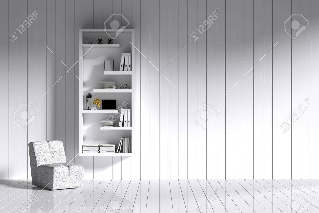3D Rendering: Zimmer Minimalistische Innenbeleuchtung Und Schatten Mit  Weißem Bücherregal Und Stuhl An Der