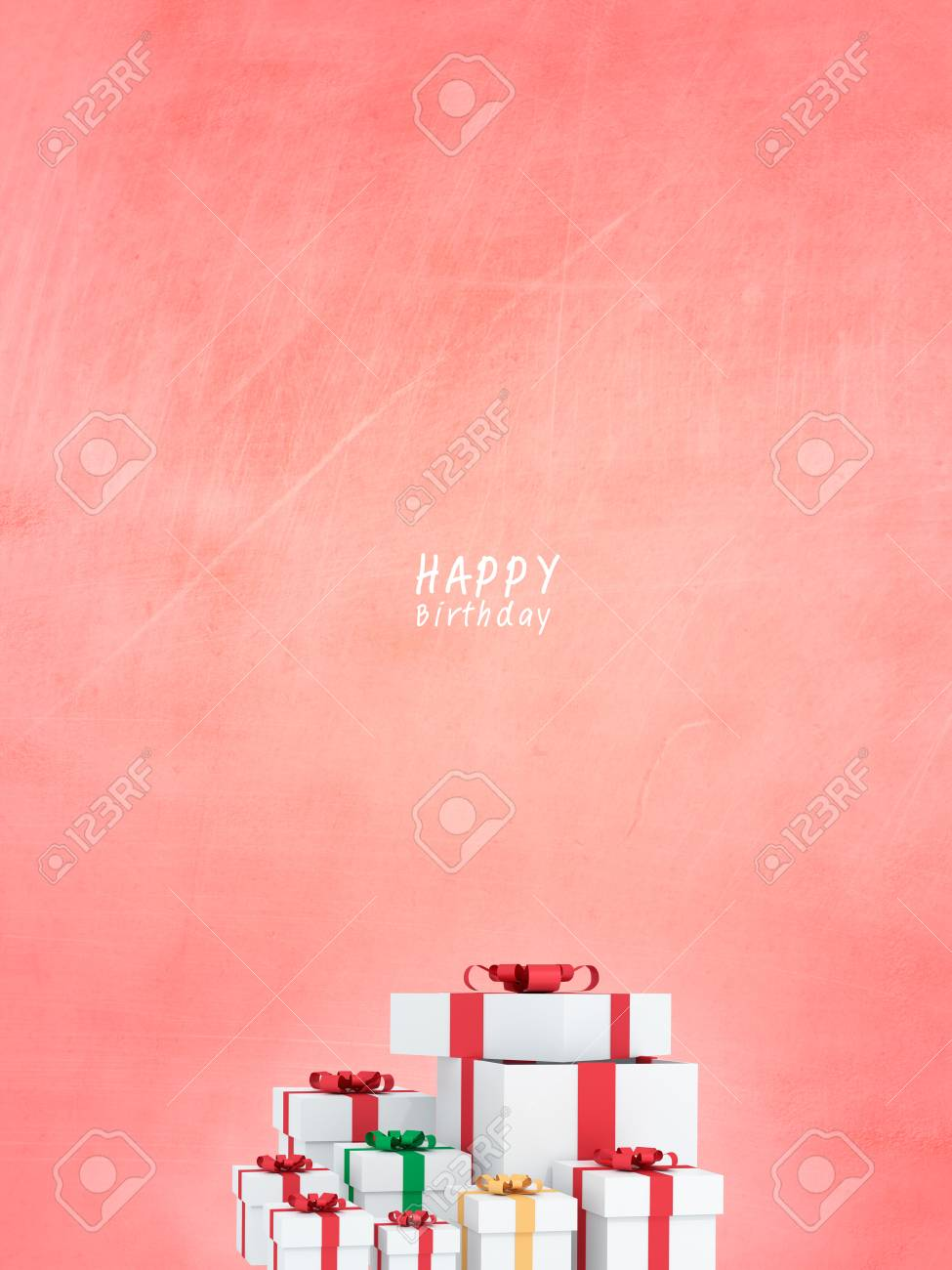 Many Happy Birthday Gift Boxes With Red Ribbons For Special Day