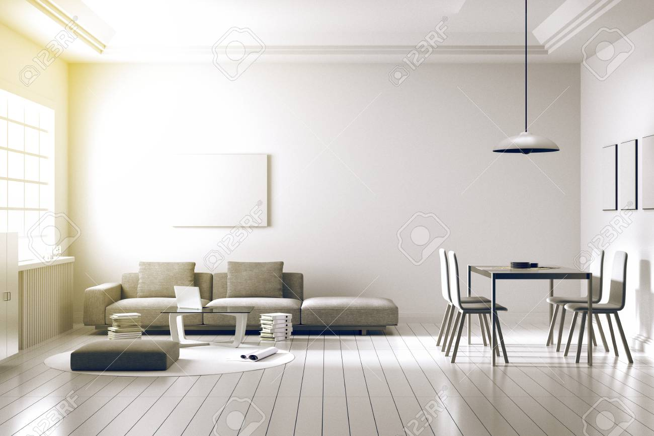 3D Rendering : Illustration Of Spacious Living Room Part Of A ...