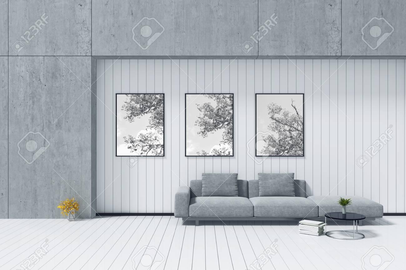 3d Rendering : Room Minimalist Interior Grey Fabric Long Sofa ...