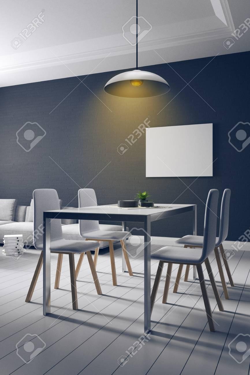 Representación 3D: ilustración del comedor espacioso parte de una casa en  color de luz suave. pared de ladrillo loft con decoración de muebles ...
