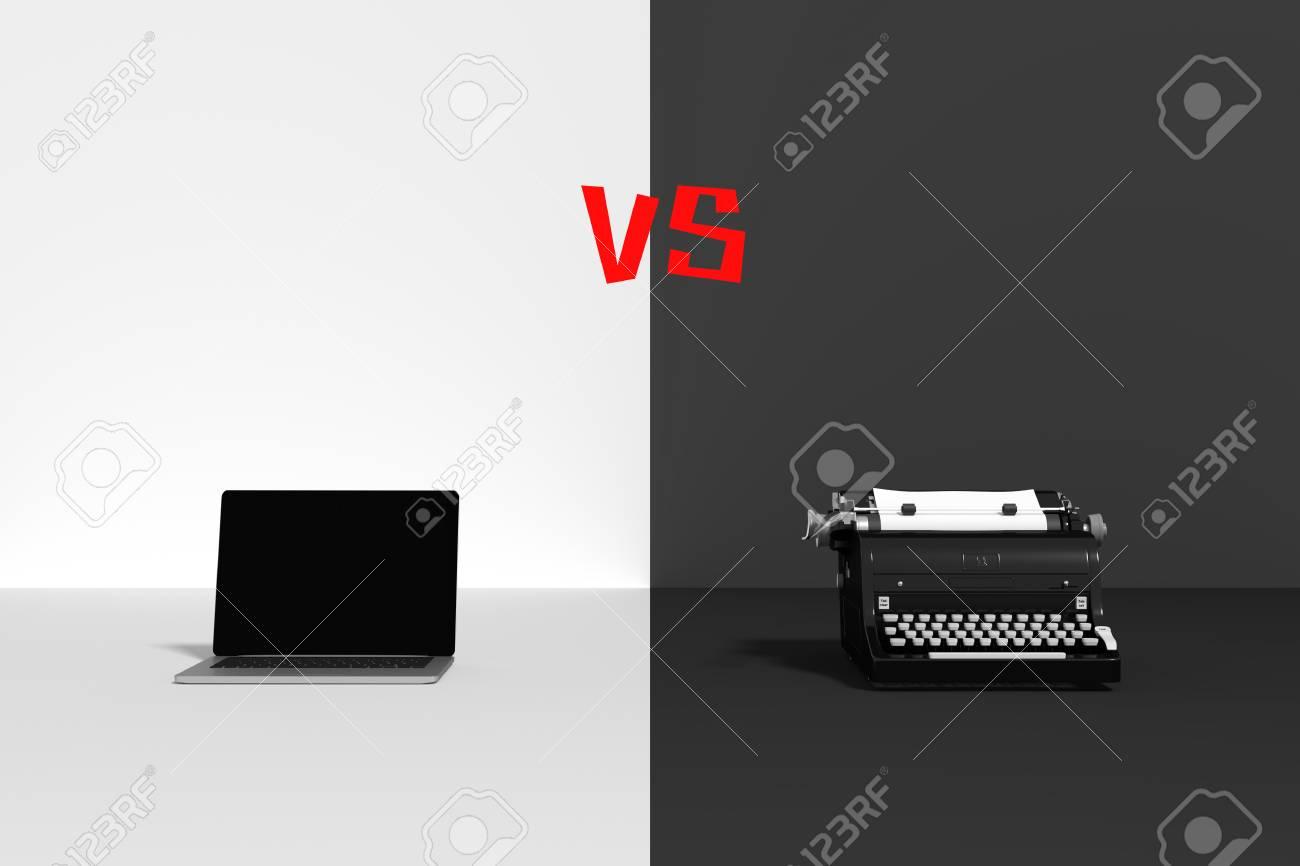 Representación 3D: Ilustración De Comparar Con La Vieja Tecnología ...