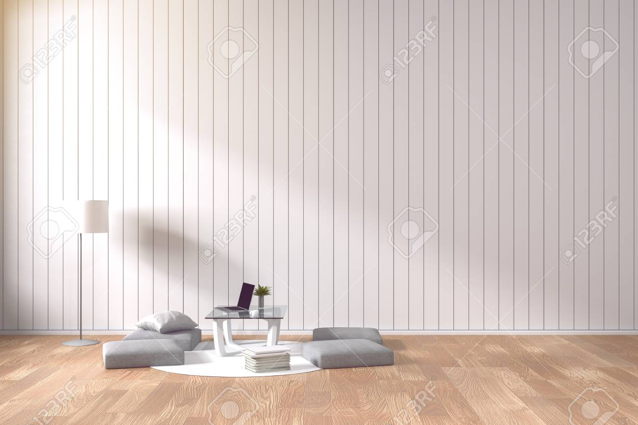 3d Rendering : Living Room Minimalist Interior Bright Room With ...