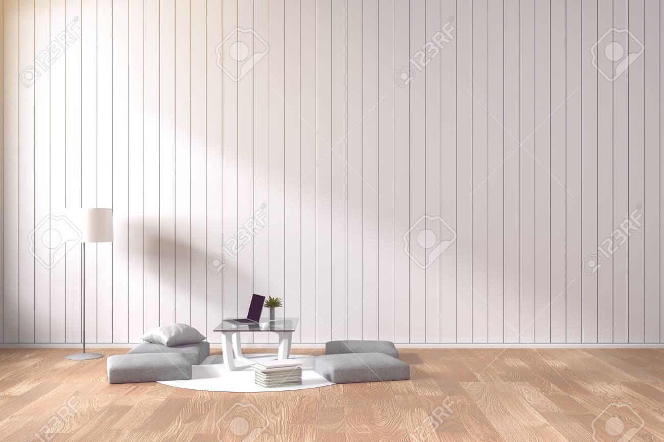 3D Rendering: Wohnzimmer Minimalistischen Interieur Hellen Raum Mit Weißen  Stoff Sofa An Der Vorderseite