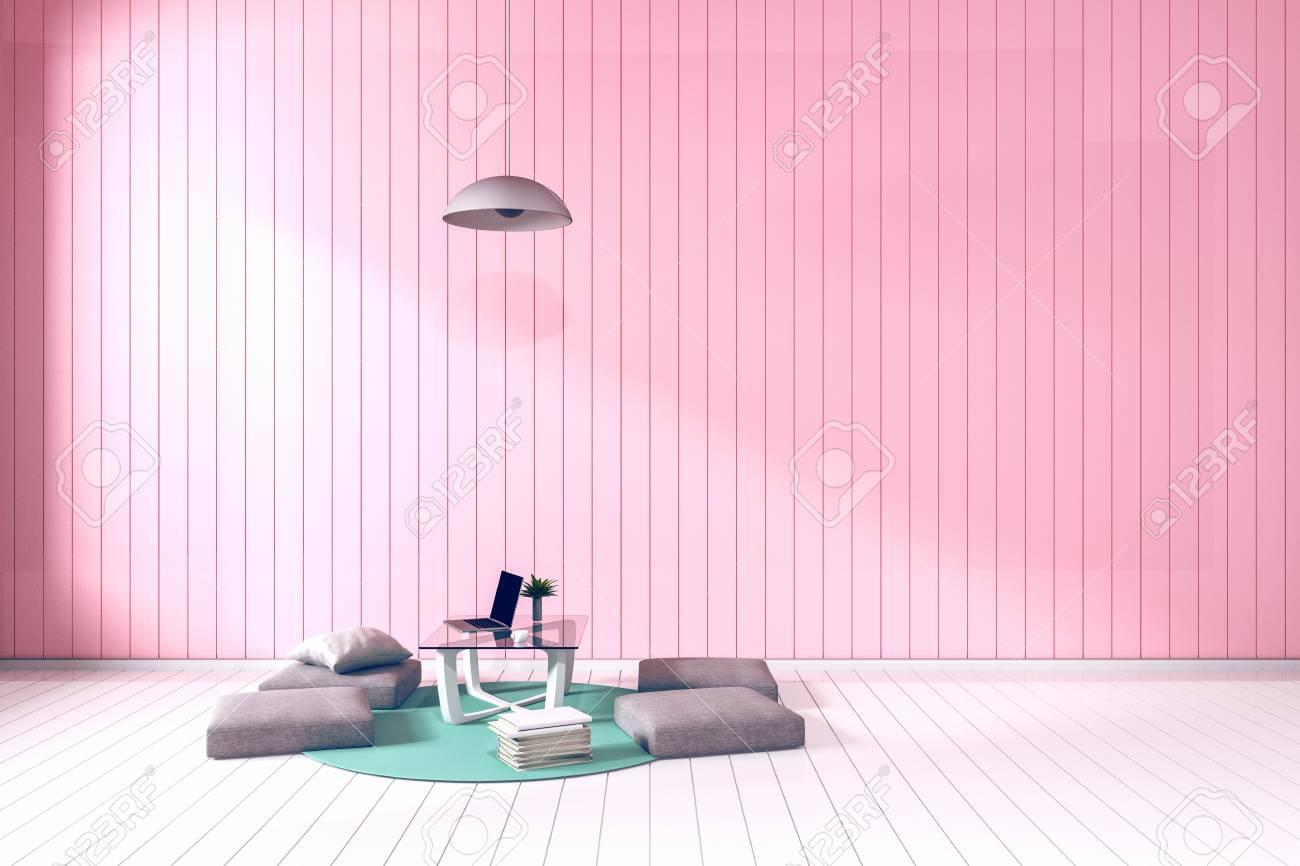 3D Rendering: Wohnzimmer Minimalistischen Interieur Hellen Raum Mit Weißen  Stoff Sofa Kissen Japanischen Zimmer Stil