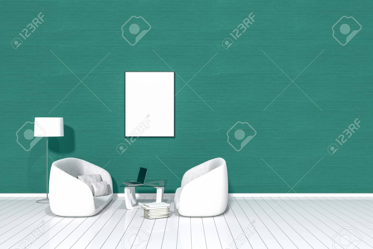 Elegant 3D Rendering: Wohnzimmer Minimalistisches Innenlicht Und Schatten Mit Sofa  Des Weiß Zwei Gewebe An