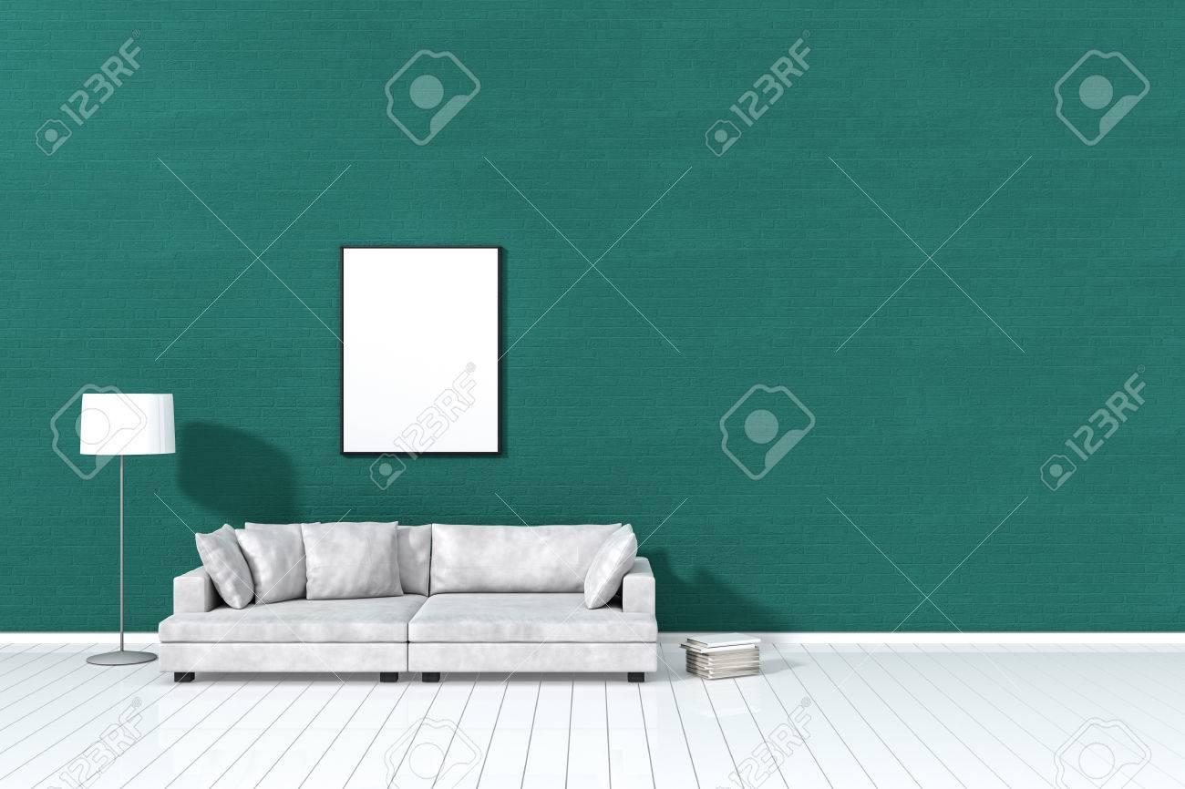 3D Rendering: Wohnzimmer Minimalistische Innenbeleuchtung Und Schatten Mit  Weißem Ledersofa Vor Der Grünen Wand
