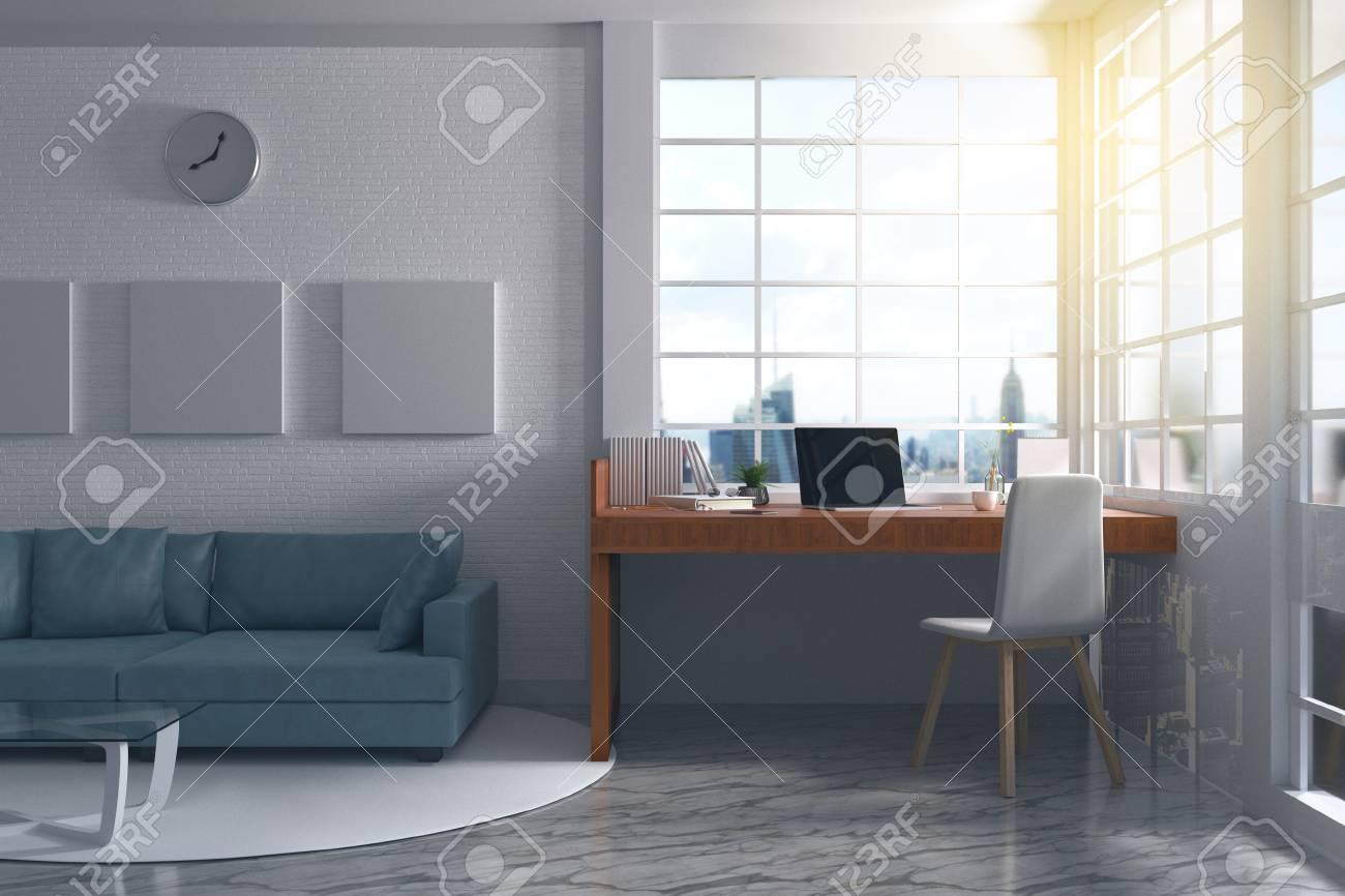 Rendu 3D: Illustration D\'un Intérieur Moderne Bureau De Designer ...
