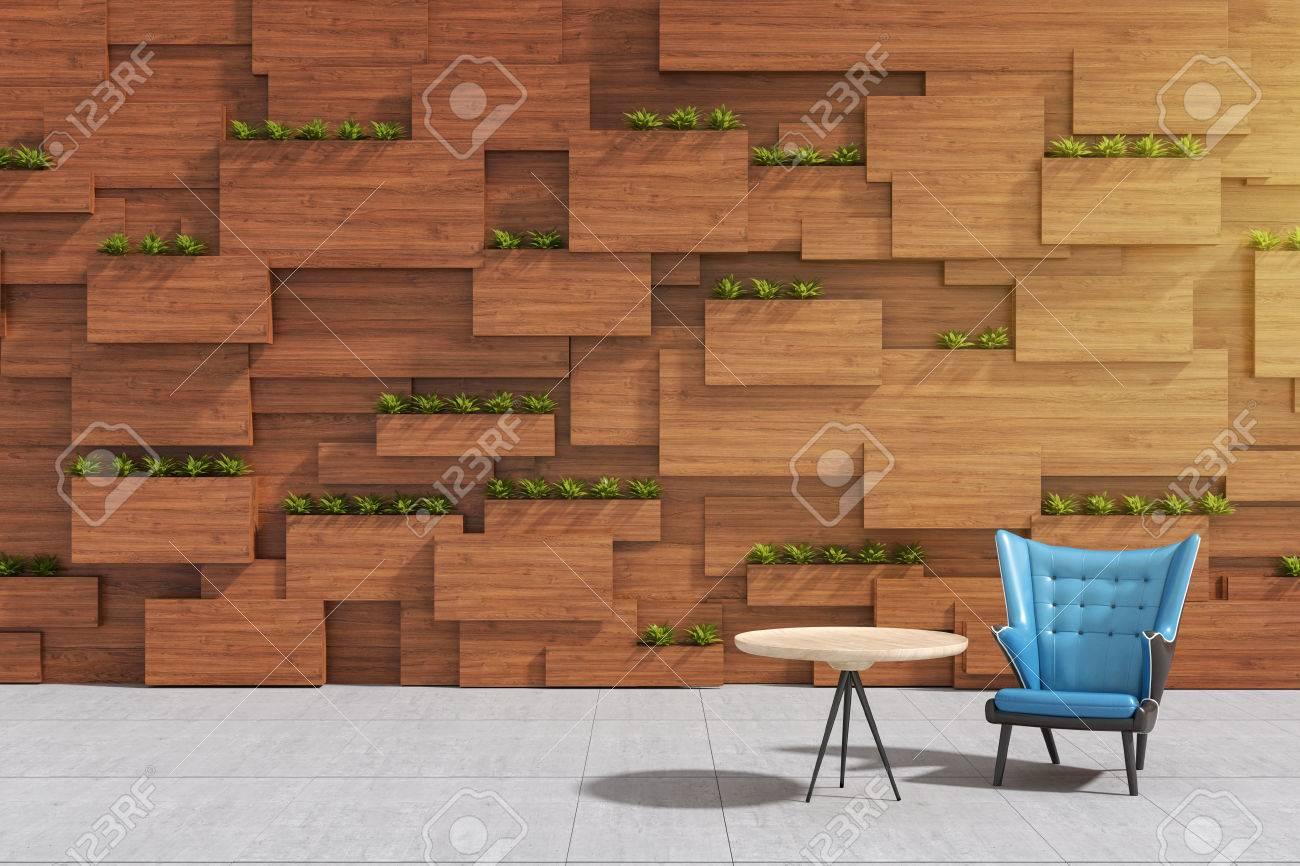 Pareti Di Legno Per Esterni : Rappresentazione 3d: illustrazione della poltrona o del sofà contro