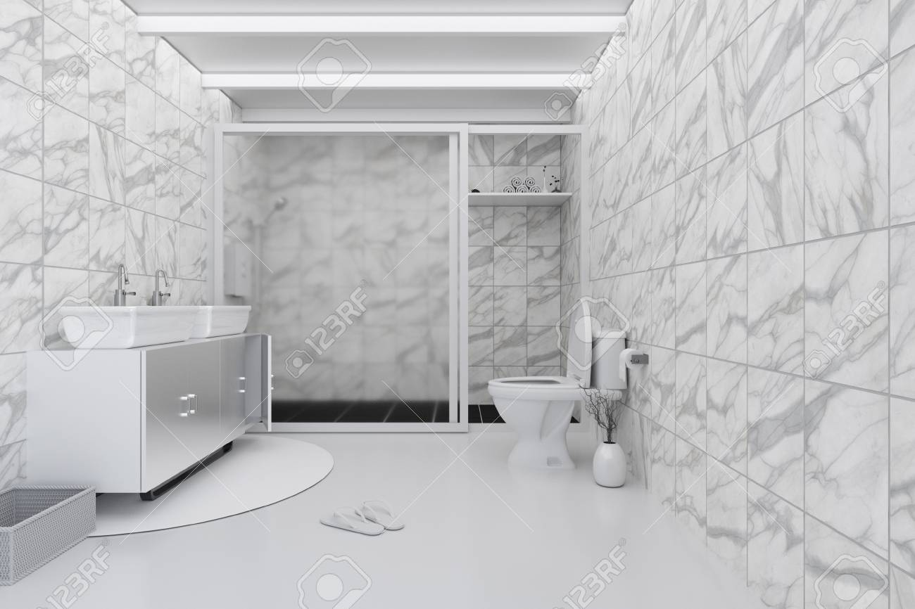 3d Rendering Illustration Of White Toilet And Bathroom With Stock Photo Picture And Royalty Free Image Image 82338648