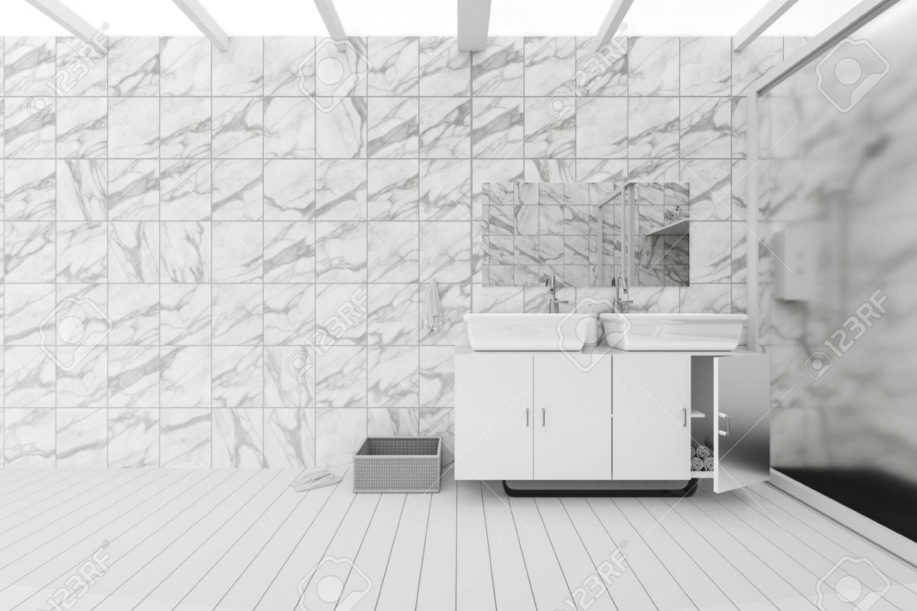 3D Rendering : Illustration Of White Toilet And Bathroom With ...