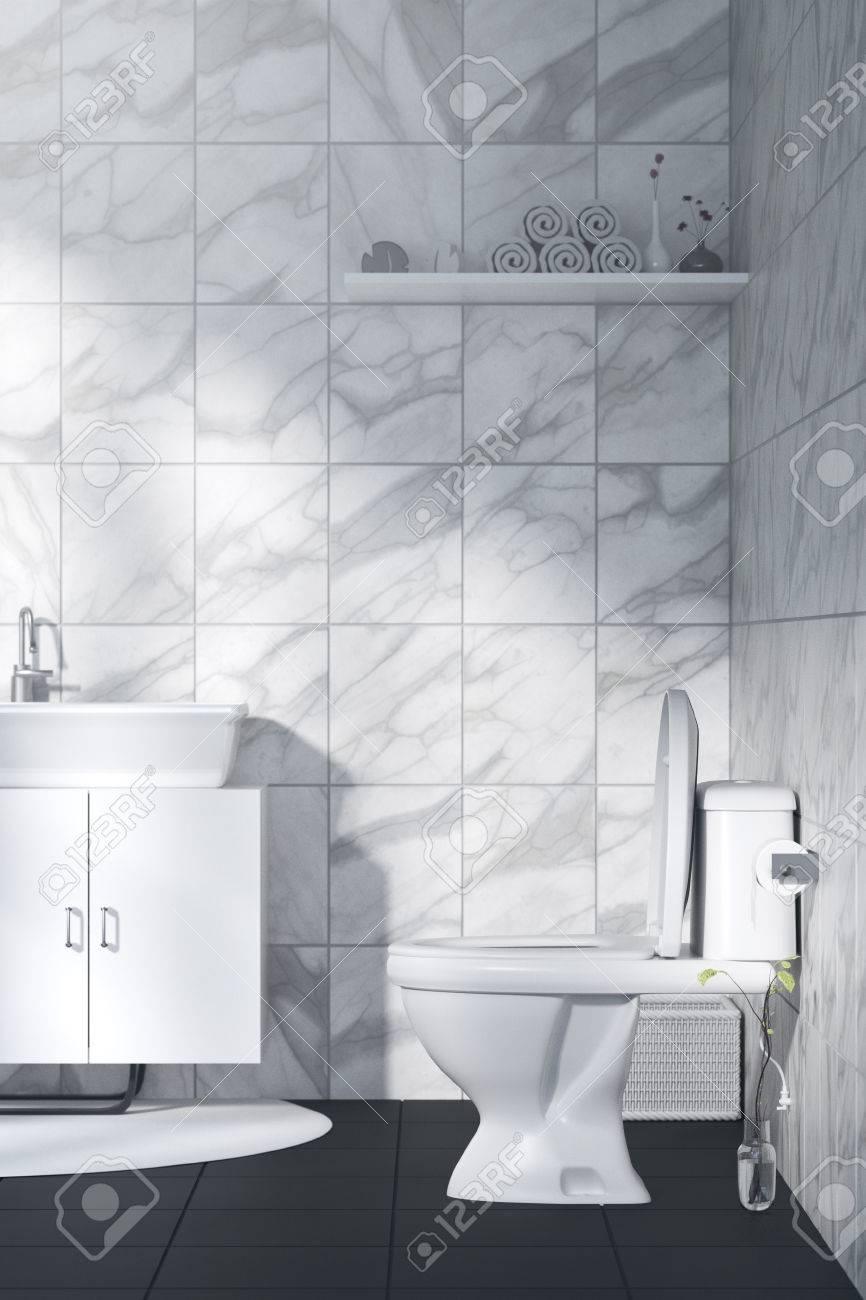 3d Rendering Illustration Der Weissen Toilette Und Bad Mit Marmor