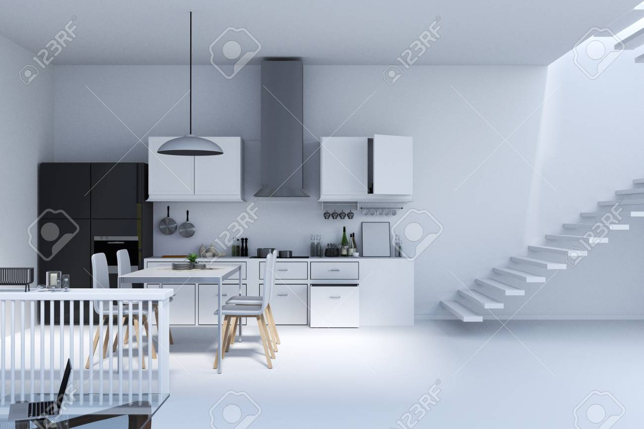 3d Rendering : Illustration Of Kitchen In House. Kitchen Interior ...