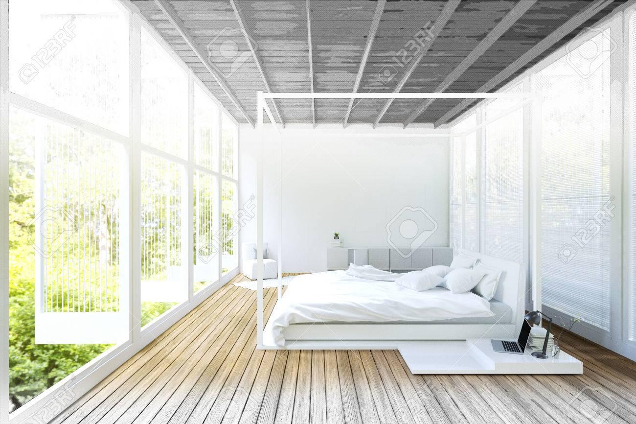 Rendu 3D: Illustration De Double Divan Lit Chambre Moderne Avec De ...