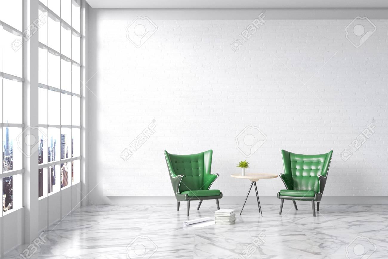 Rendu 3D: illustration du salon intérieur vintage moderne. ancien canapé en  cuir vert contre un mur de briques blanches avec un sol en marbre blanc. ...