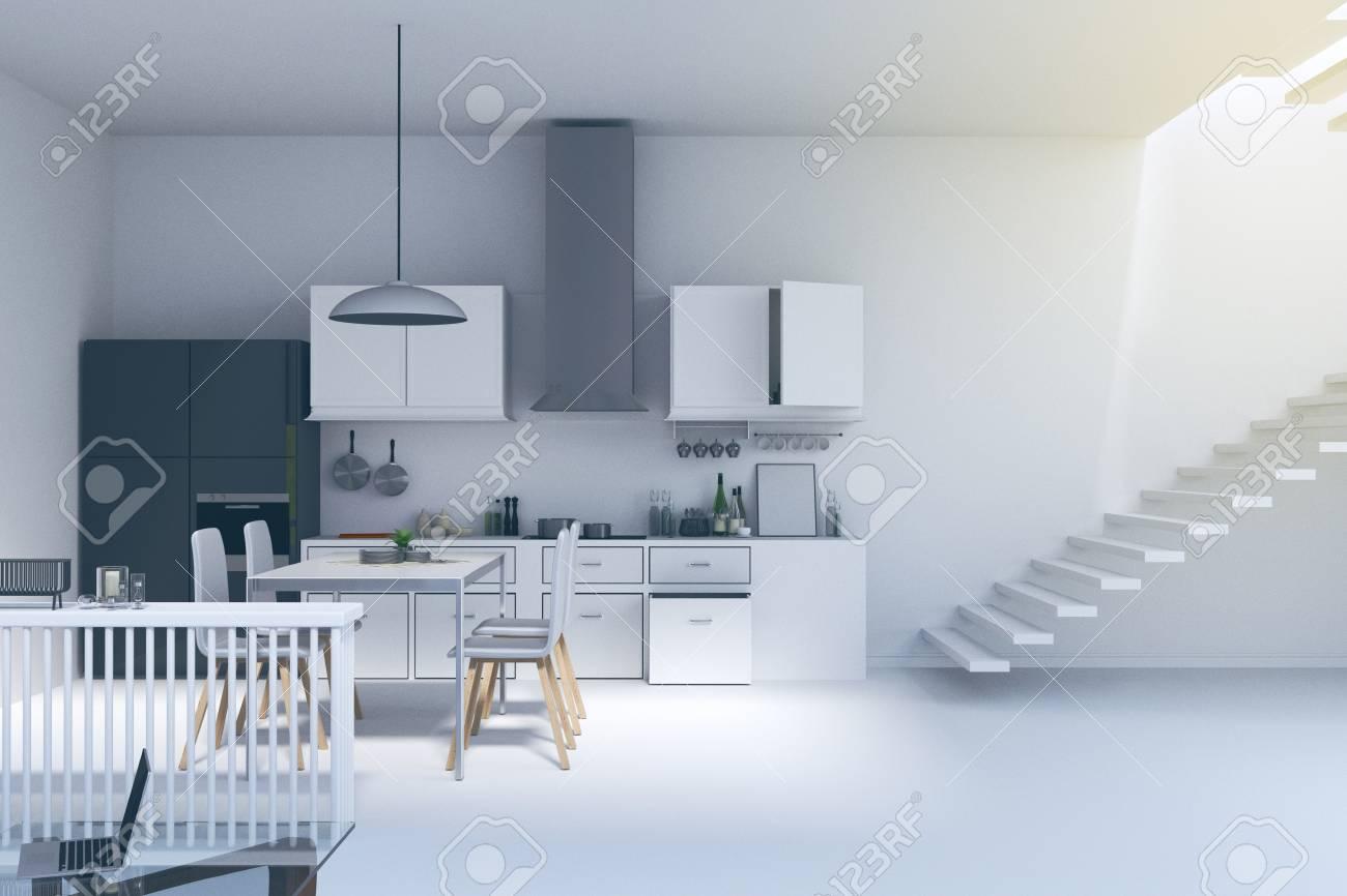 3d Rendering : Illustration Of Kitchen In House. Kitchen Interior ...