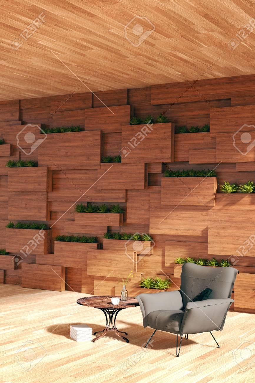 Rendu 3d Illustration D Un Fauteuil Ou D Un Canape Contre Un Mur En Bois Avec Une Plante Design D Interieur Moderne Blocs En Bois Mur Et Jardin
