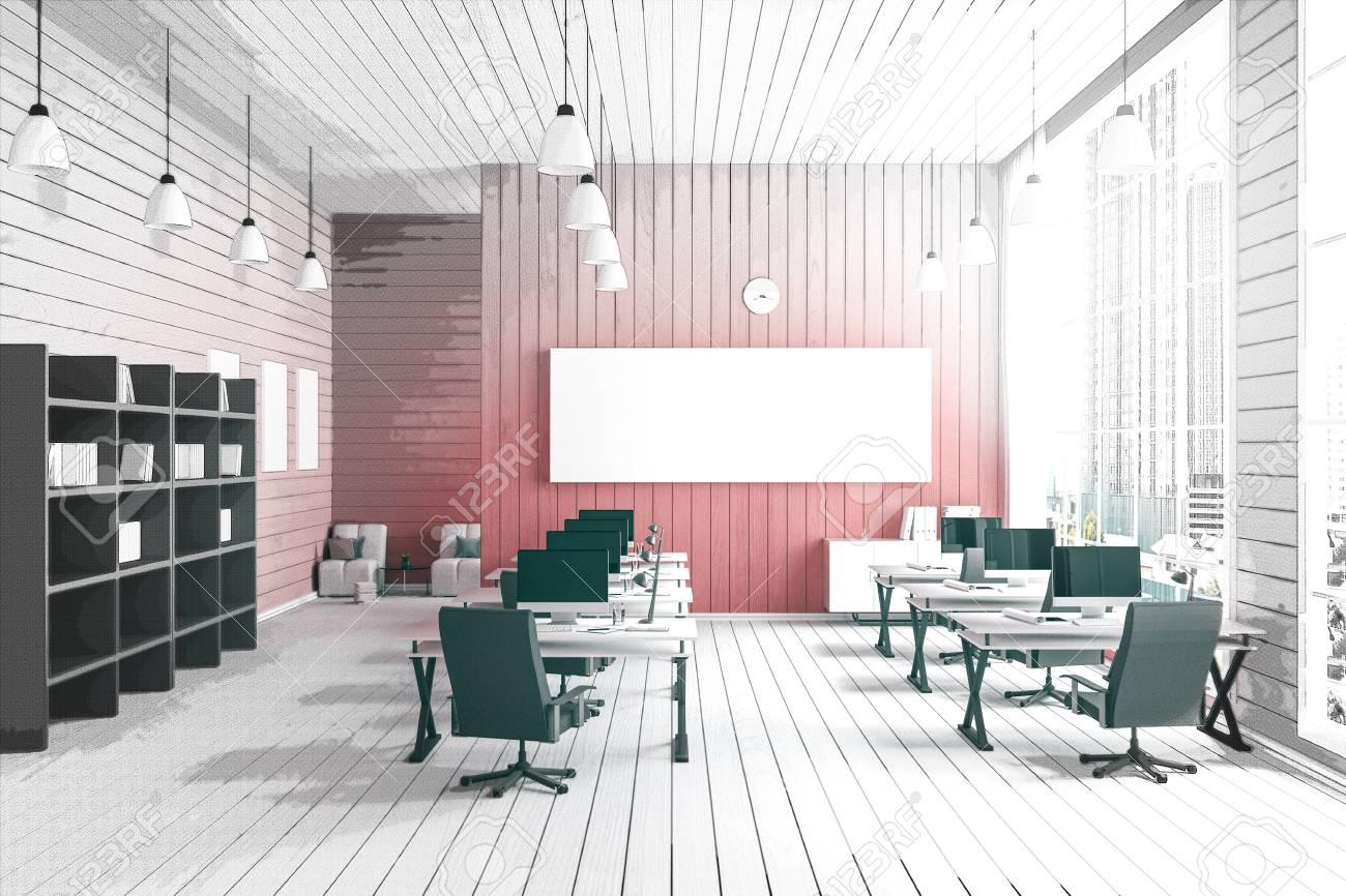Rendu d illustration de l intérieur moderne bureau de créateurs