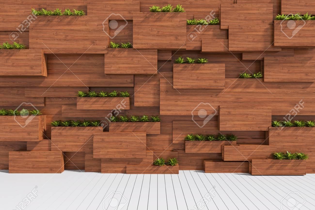 Rendu 3d Illustration De Bois Avec Mur Vegetal Dans Un Interieur Moderne Et Carrelage En Bois Des Blocs De Bois Et Un Jardin Vertical A L Interieur