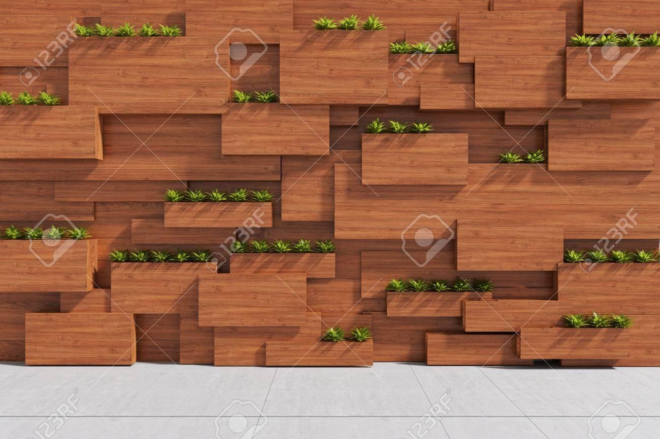 rendement 3d: illustration du bois avec le mur de la plante dans l