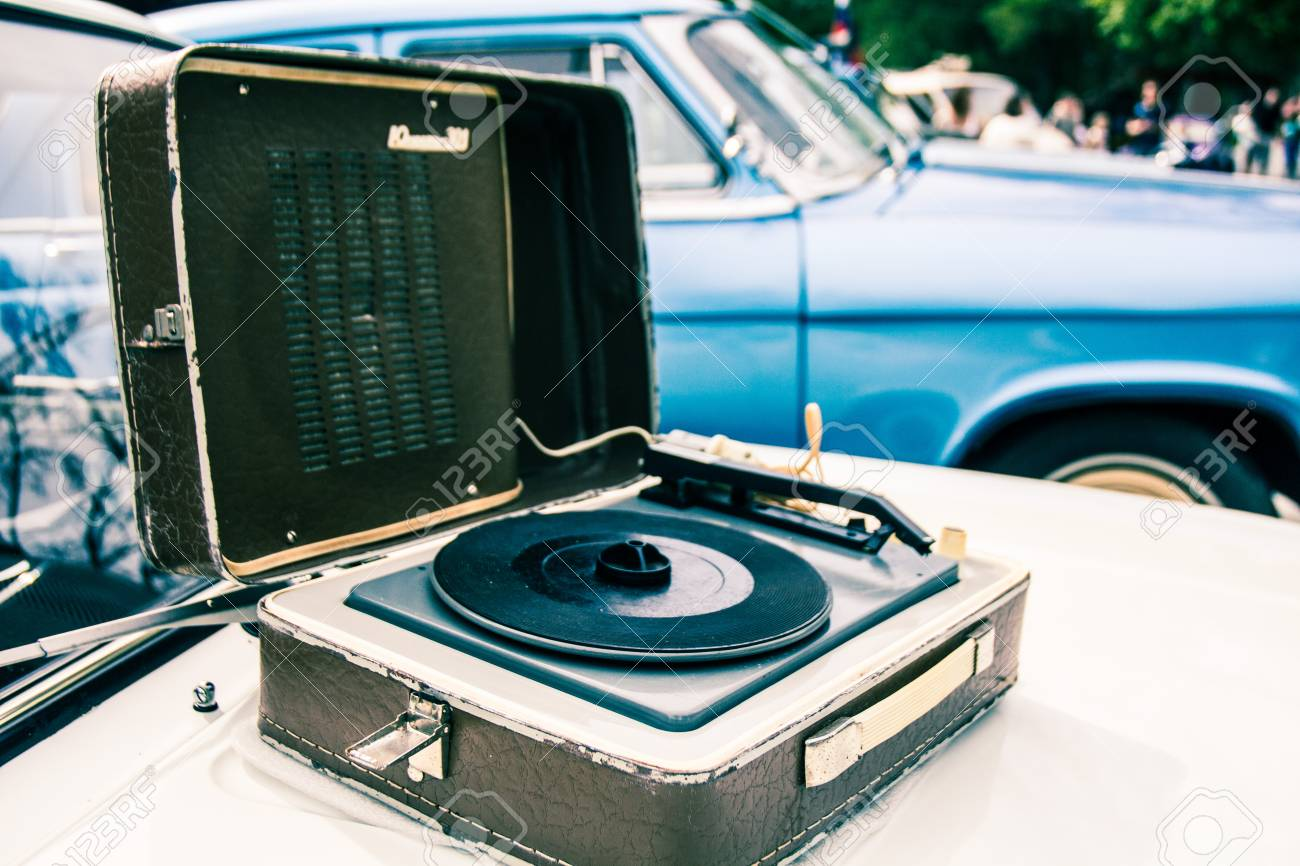 Shabby Old Gramophone In A Leather Case On The Hood Of The Old ...