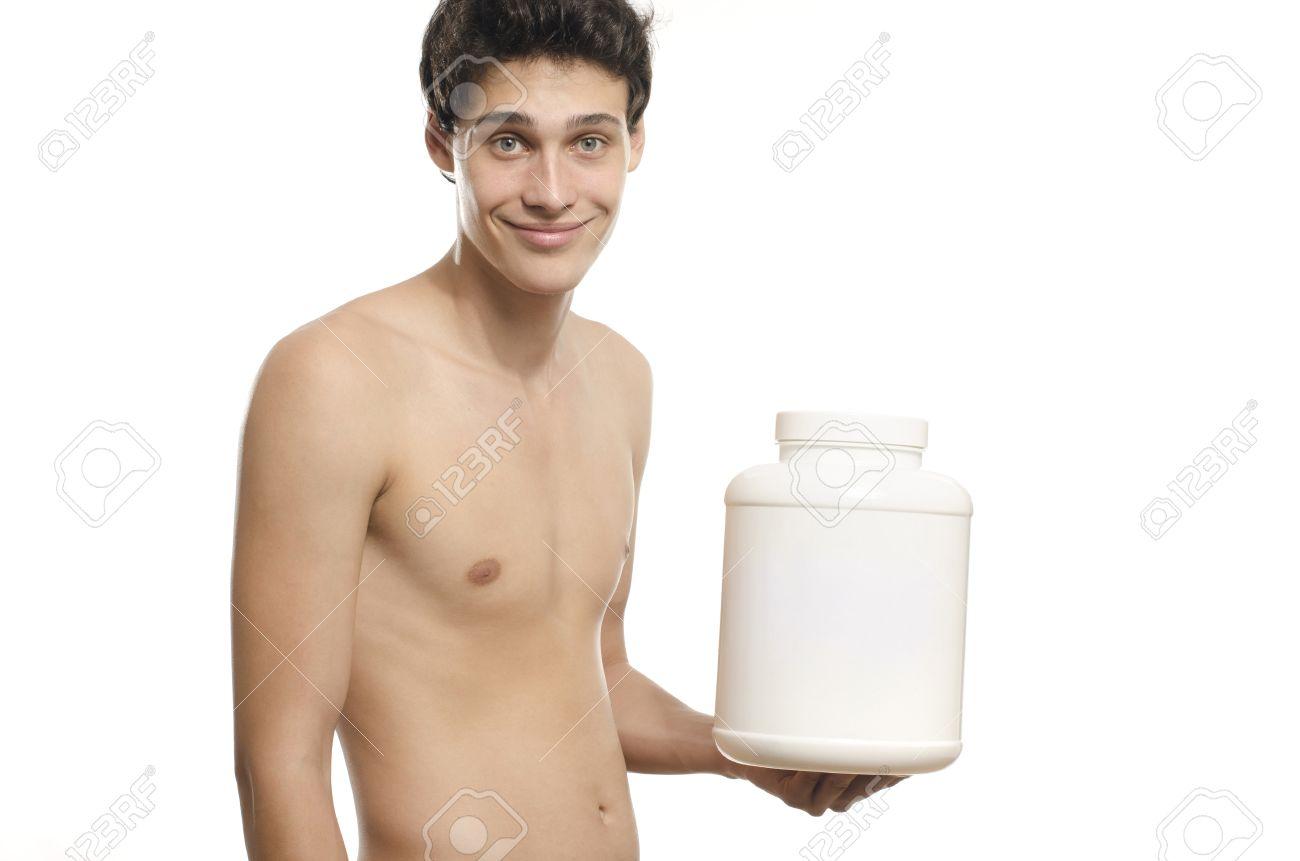 Homme Anorexique Photo la formation de l'homme maigre et boire une boisson protéinée