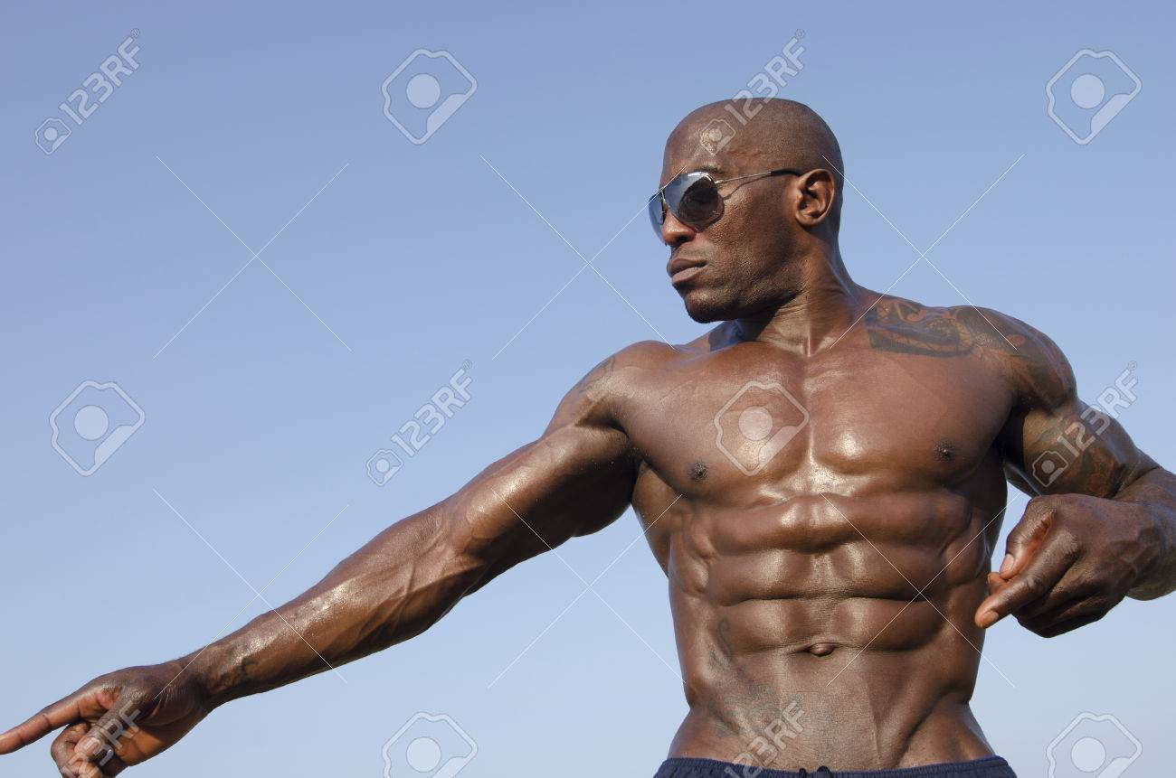 Black Bodybuilder Wearing Sunglasses And Showing Off His Big ...