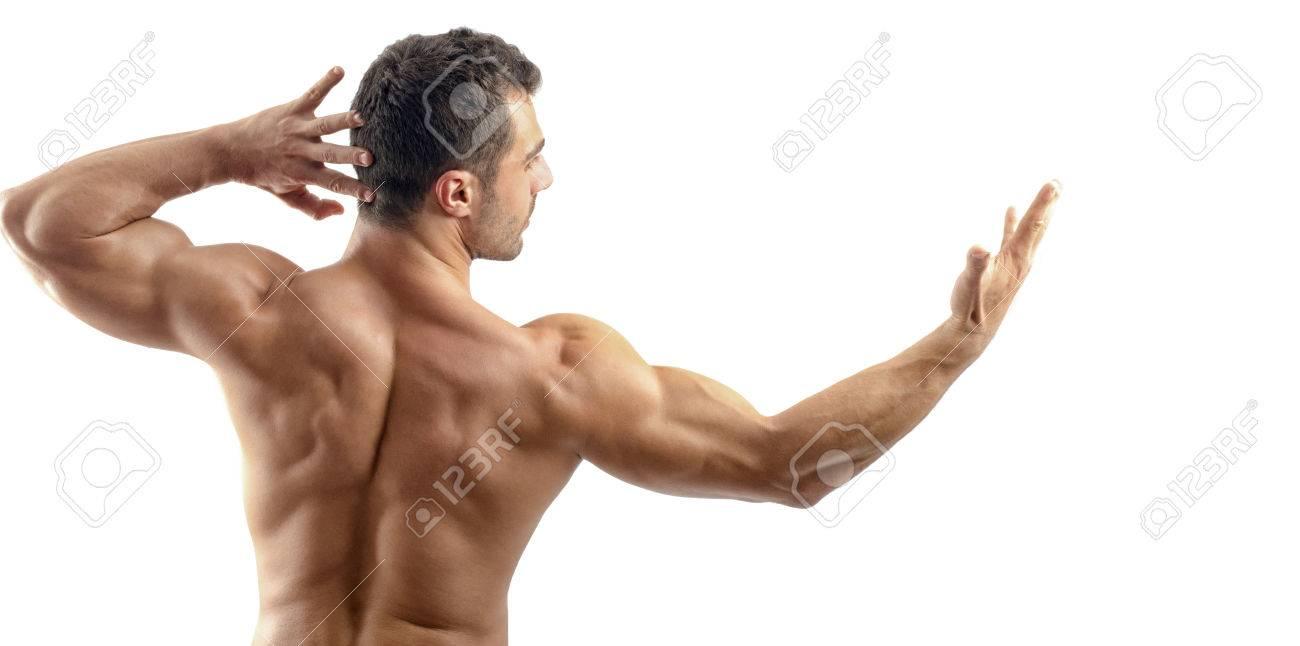 Bodybuilder Zeigt Seine Rückenmuskulatur Und Bizeps, Persönlichen ...