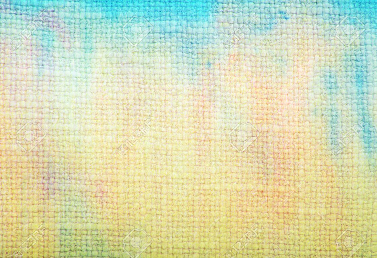 Old fabric texture: Abstract textured background with blue and green patterns on yellow backdrop. For art texture, grunge design, and vintage paper / border frame Stock Photo - 16723401