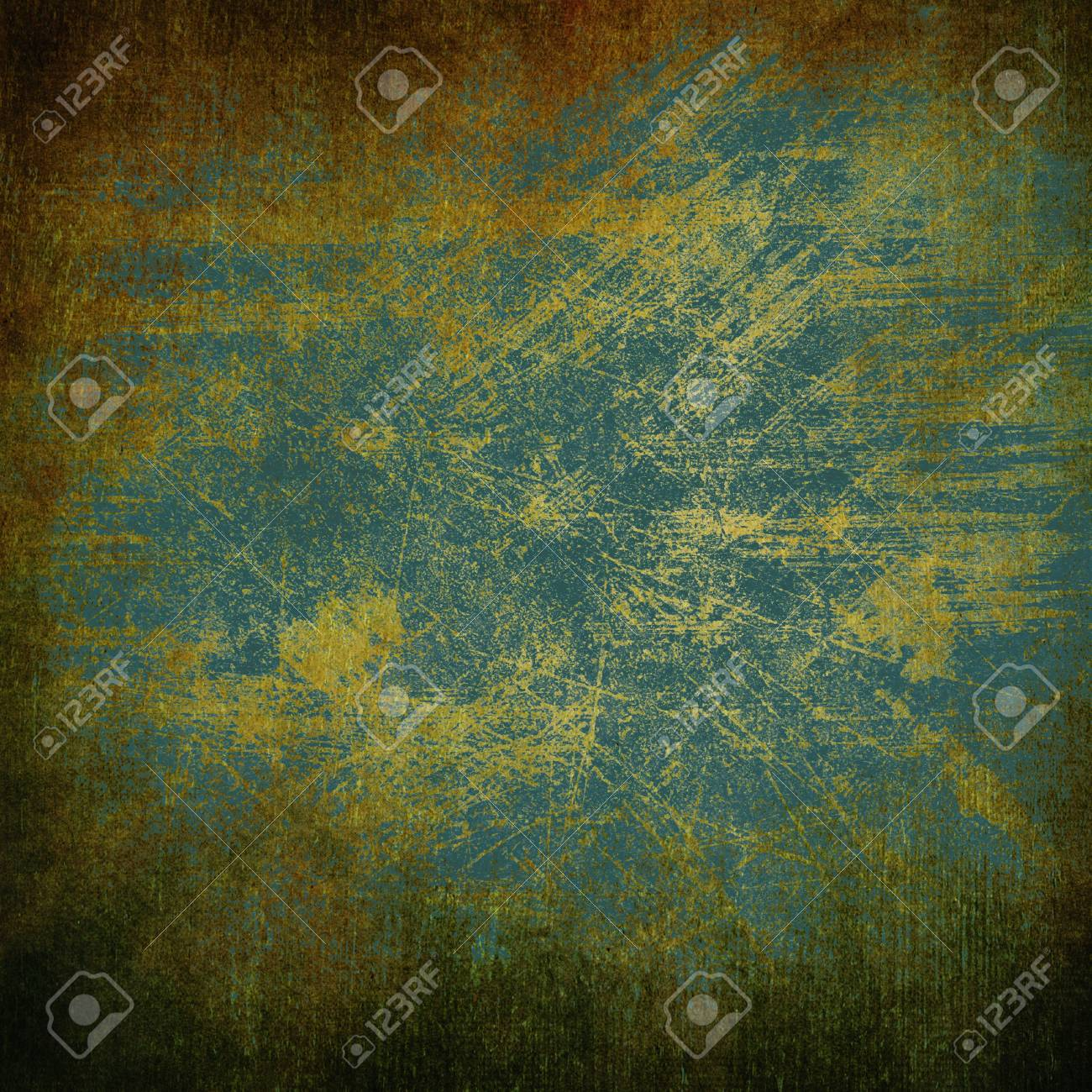 Abstract blue and brown background or paper with bright spotlights and dark border frame with grunge background texture  For vintage layout design of light colorful graphic art Stock Photo - 18016075